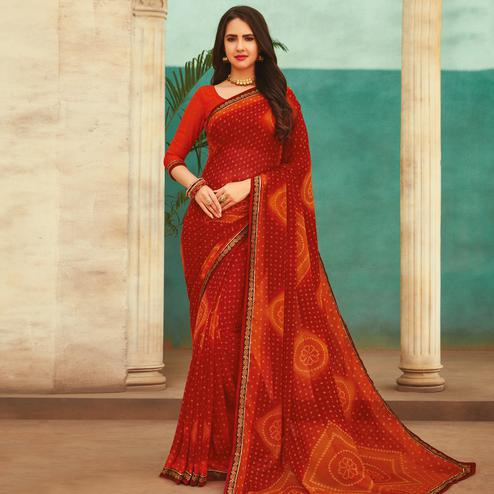Ideal Red Colored Casual Wear Printed Chiffon Saree