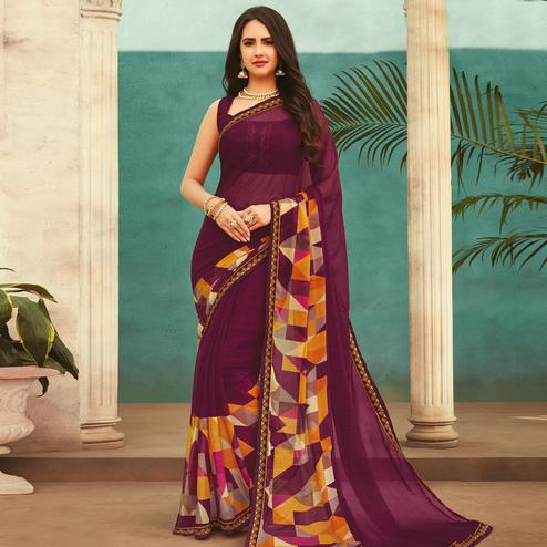 Lovely Purple Colored Casual Wear Printed Chiffon Saree