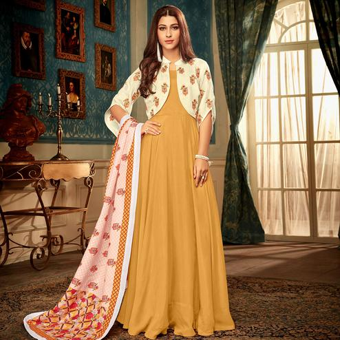 Majesty Mustard Yellow Colored Partywear Embroidered Heavy Muslin Gown