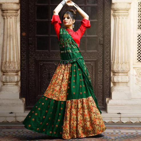 Arresting Green-Beige Colored Party Wear Printed Rayon Lehenga Choli