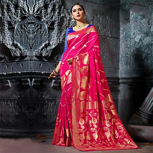 Beautiful Pink Designer Cotton Silk Jacquard Saree