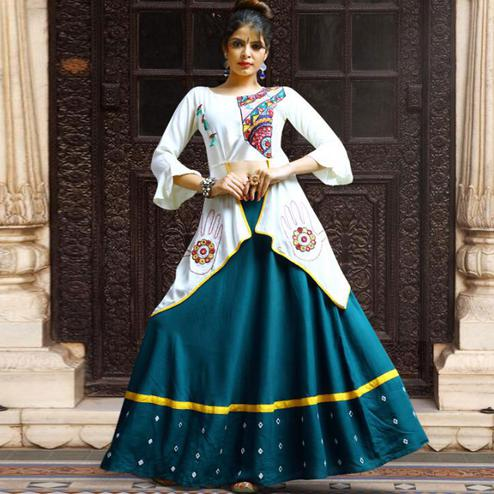 Desirable Teal Blue-White Colored Party Wear Embroidered Rayon Lehenga