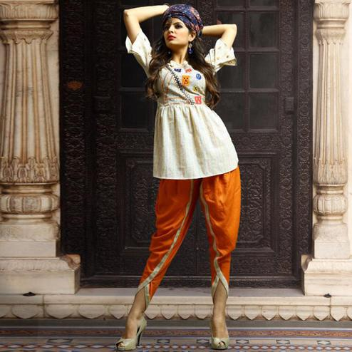 Exotic Off White-Orange Colored Casual Wear Embroidered Rayon Kurti-Dhoti Set