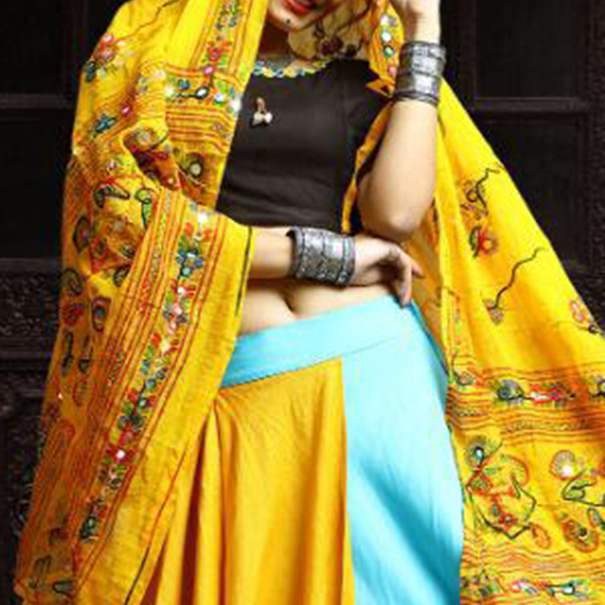 Trendy Blue-Black Colored Party Wear Embroidered Rayon Lehenga Choli