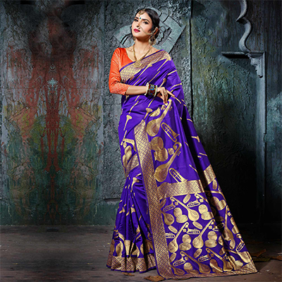 Desirable Dark Purple Designer Cotton Silk Jacquard Saree