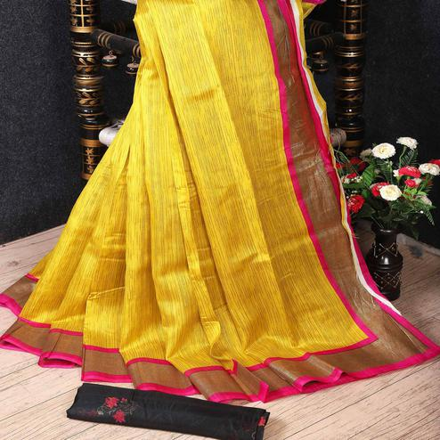 Captivating Yellow Colored Festive Wear Woven Banarasi Silk Saree