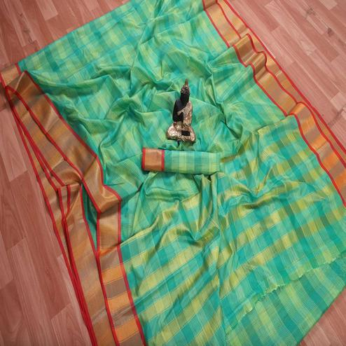 Innovative Green Colored Festive Wear Checks Printed Banarasi Silk Saree