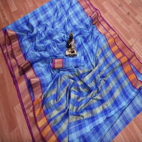 Eye-catching Blue Colored Festive Wear Checks Printed Banarasi Silk Saree