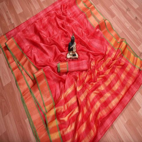 Fantastic Pink Colored Festive Wear Checks Printed Banarasi Silk Saree