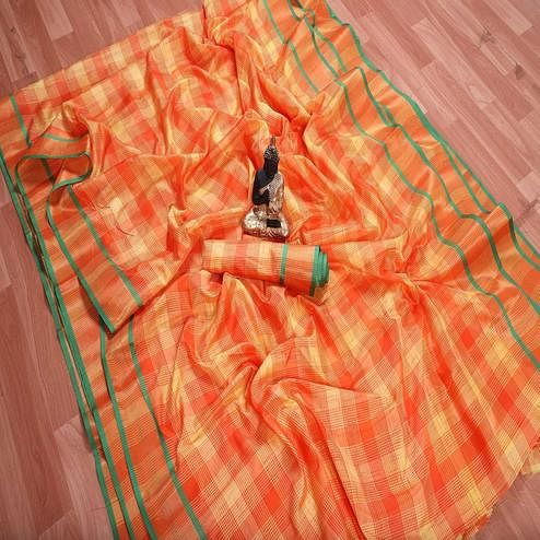 Amazing Orange Colored Festive Wear Checks Printed Banarasi Silk Saree