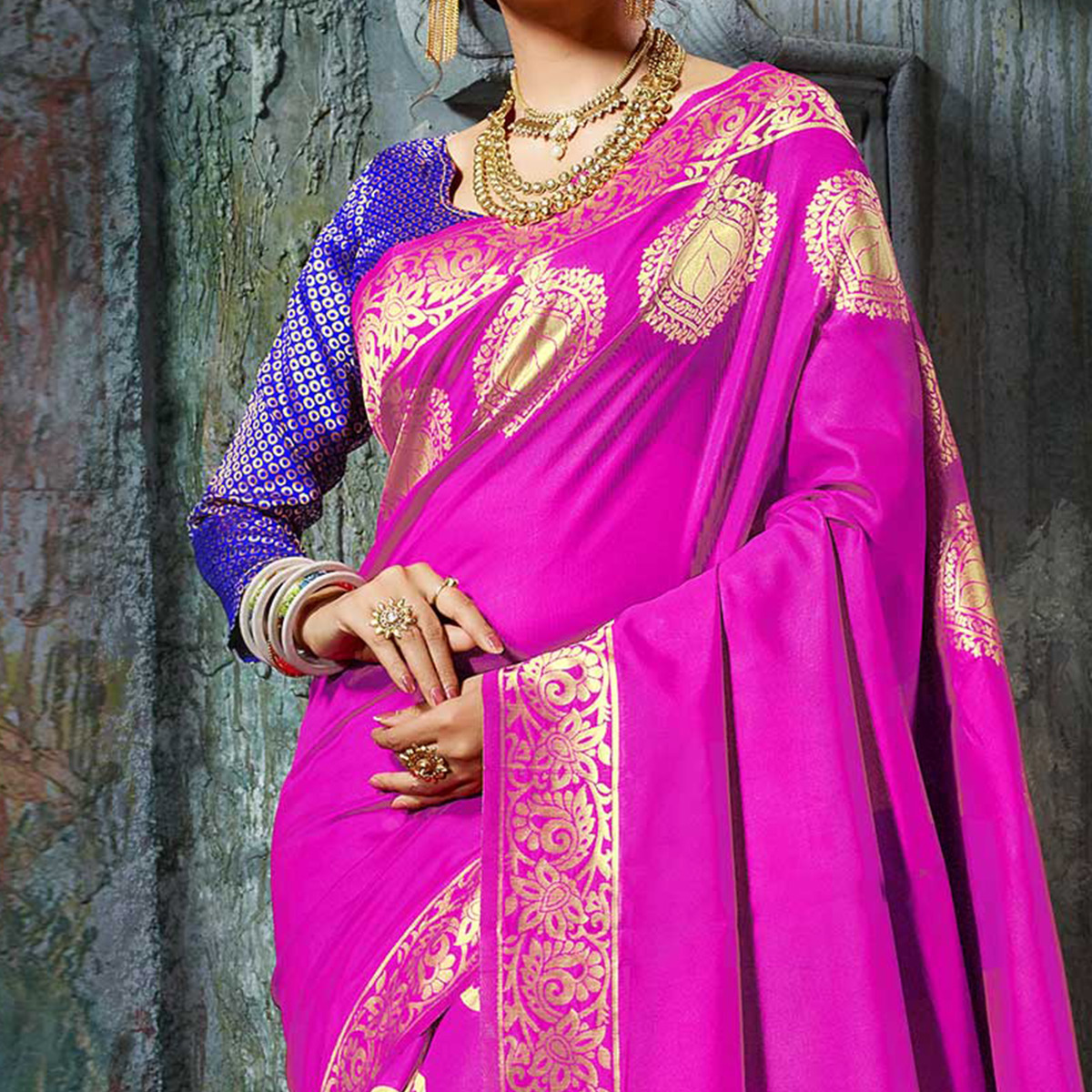 Marvellous Magenta Designer Cotton Silk Jacquard Saree