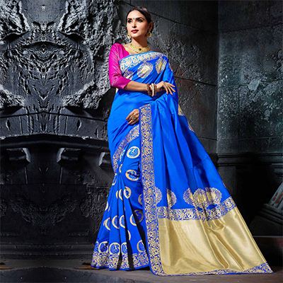 Divine Blue Designer Cotton Silk Jacquard Saree