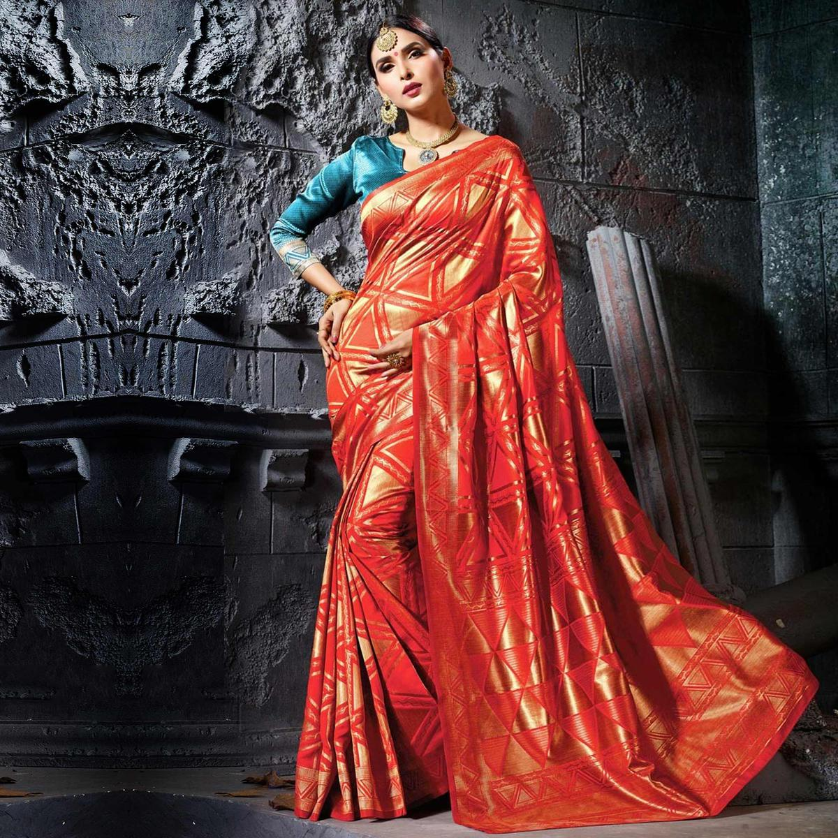 Ravishing Red Designer Cotton Silk Jacquard Saree