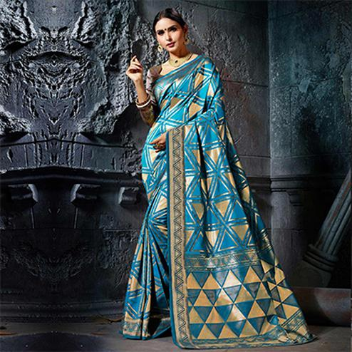 Lovely Turquoise Blue Designer Cotton Silk Jacquard Saree