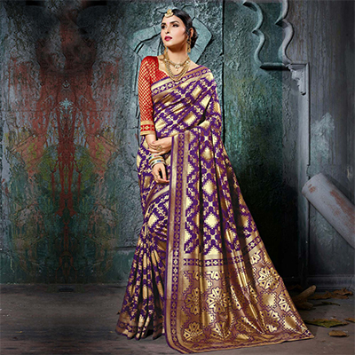 Attractive Purple Designer Cotton Silk Jacquard Saree