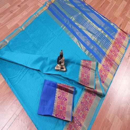 Alluring Sky Blue Colored Festive Wear Woven Banarasi Silk Saree