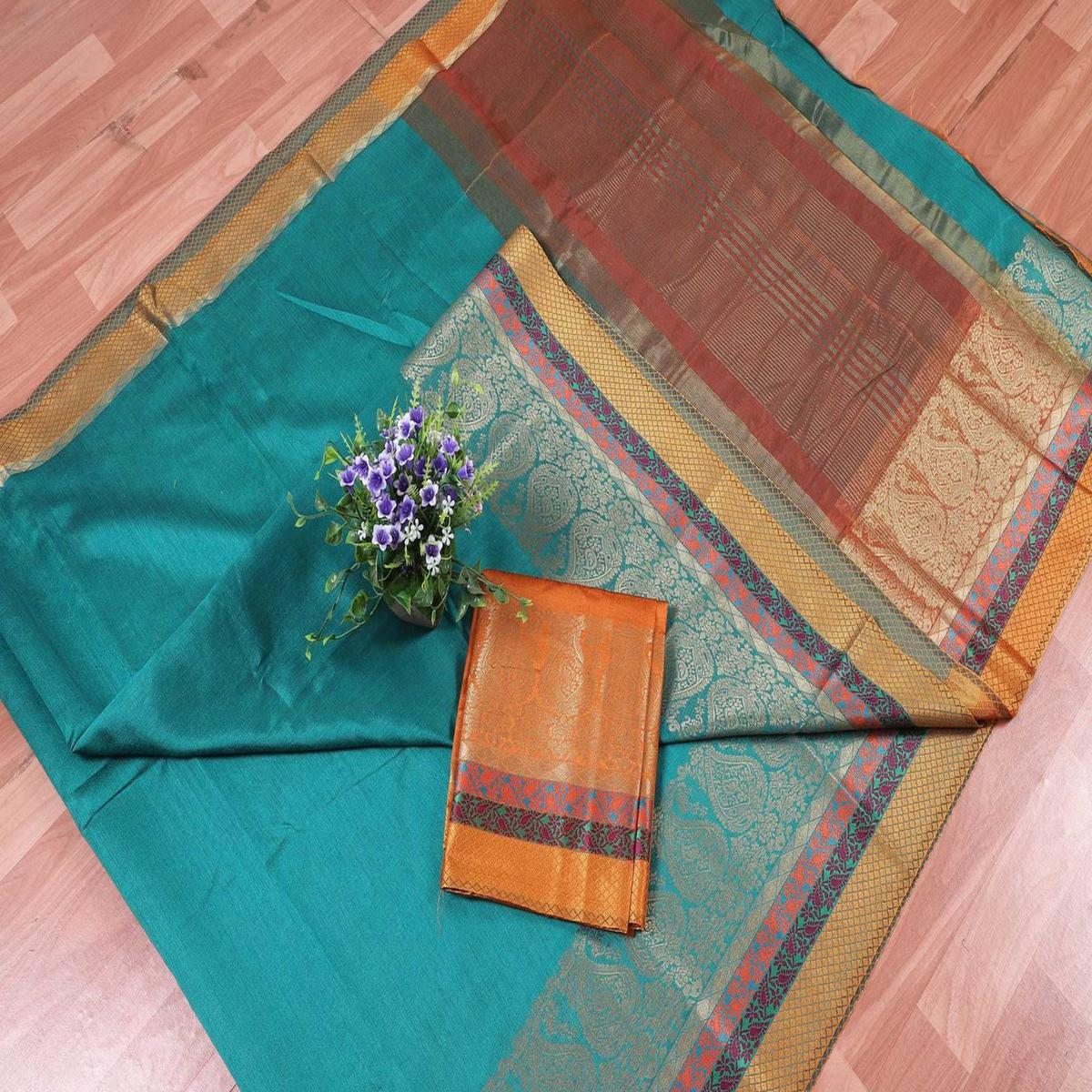 Flaunt Rama Blue Colored Festive Wear Woven Banarasi Silk Saree