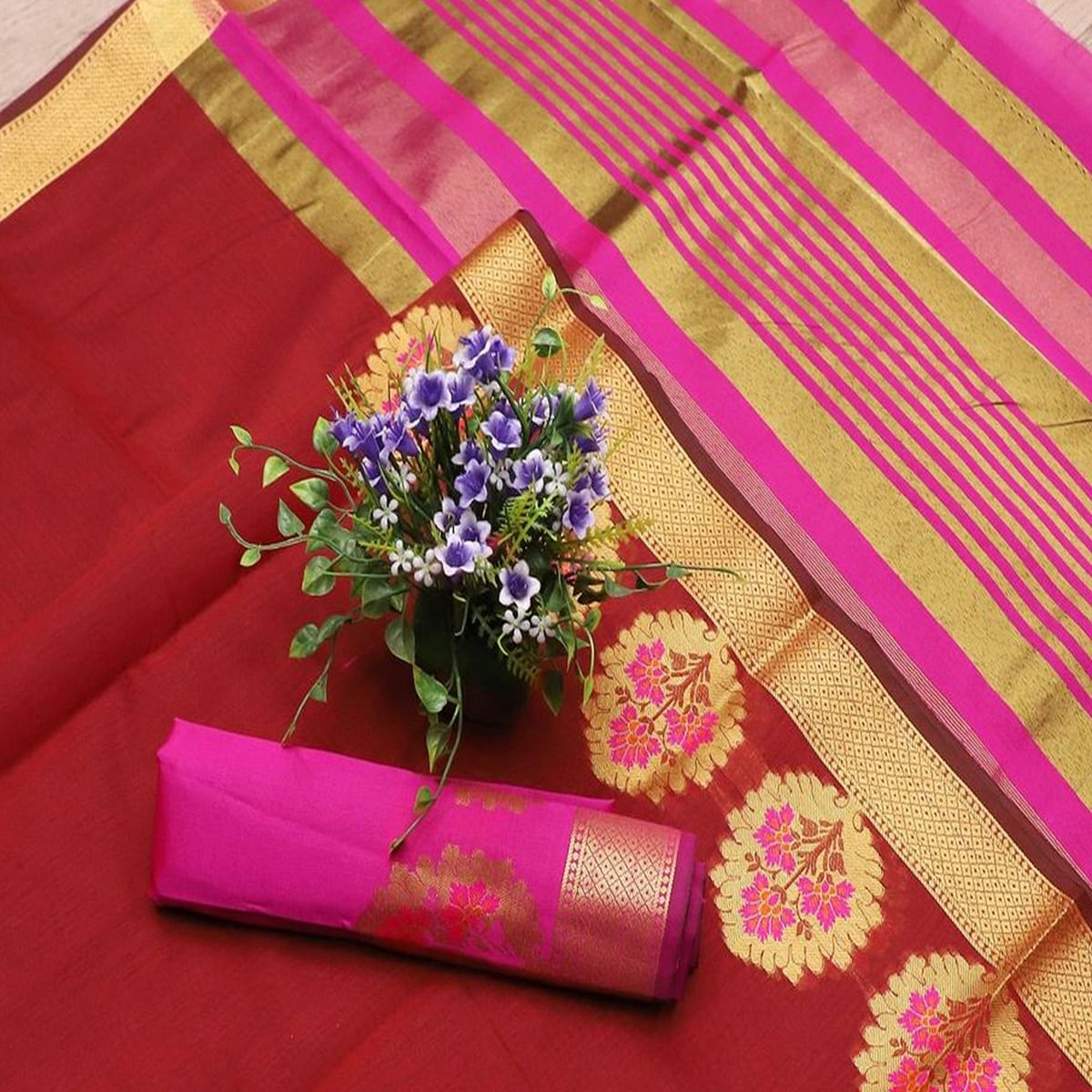 Adorable Maroon Colored Festive Wear Woven Banarasi Silk Saree