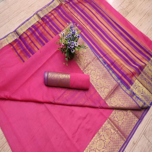 Glorious Pink Colored Festive Wear Woven Banarasi Silk Saree
