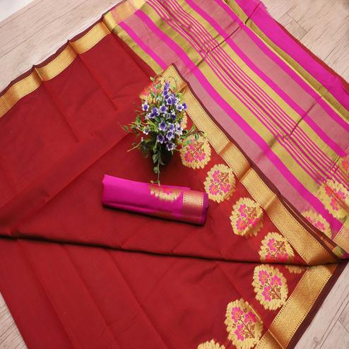Attractive Maroon Colored Festive Wear Woven Banarasi Silk Saree