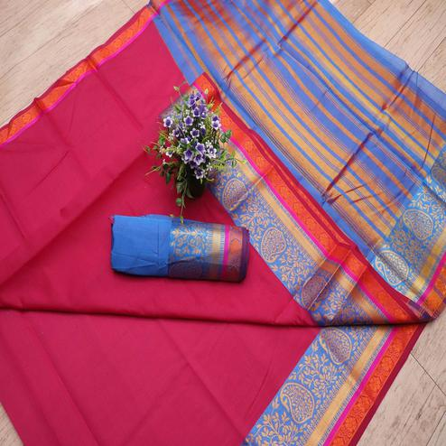 Beautiful Pink Colored Festive Wear Woven Banarasi Silk Saree