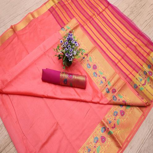 Graceful Peach Colored Festive Wear Woven Banarasi Silk Saree
