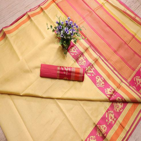 Blooming Light Yellow Colored Festive Wear Woven Banarasi Silk Saree