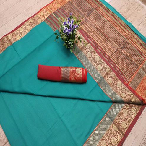 Charming Rama Blue Colored Festive Wear Woven Banarasi Silk Saree