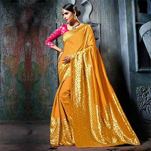 Stunning Yellow Designer Cotton Silk Jacquard Saree