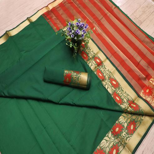 Delightful Green Colored Festive Wear Woven Banarasi Silk Saree