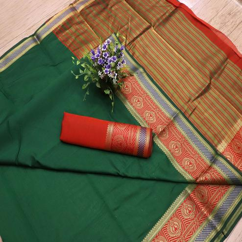 Blissful Green Colored Festive Wear Woven Banarasi Silk Saree