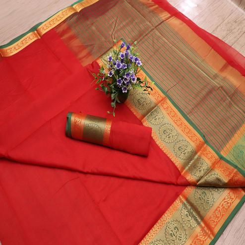 Adorable Red Colored Festive Wear Woven Banarasi Silk Saree