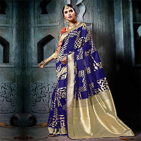 Graceful Blue Designer Cotton Silk Jacquard Saree