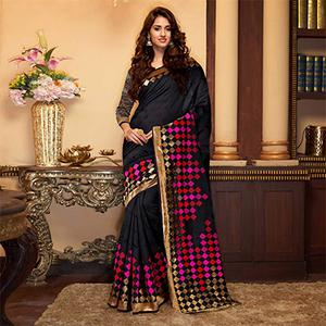 Charming Black Designer Cotton Silk Saree
