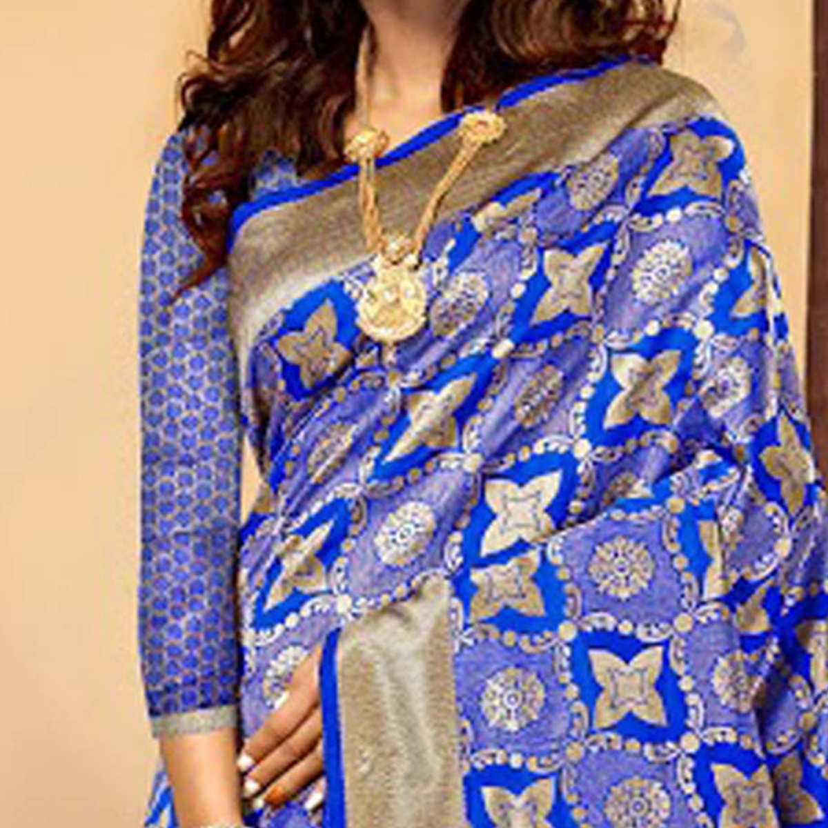 Adorable Blue Designer Cotton Silk Saree
