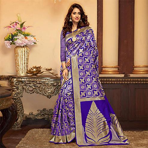 Elegant Purple Designer Cotton Silk Saree