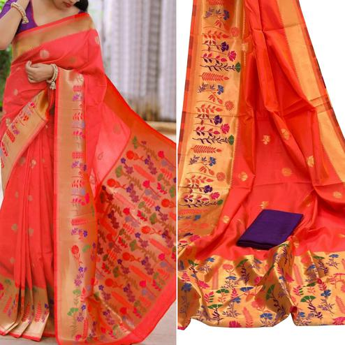 Prominent Coral Red Colored Festive Wear Woven Banarasi Silk Saree