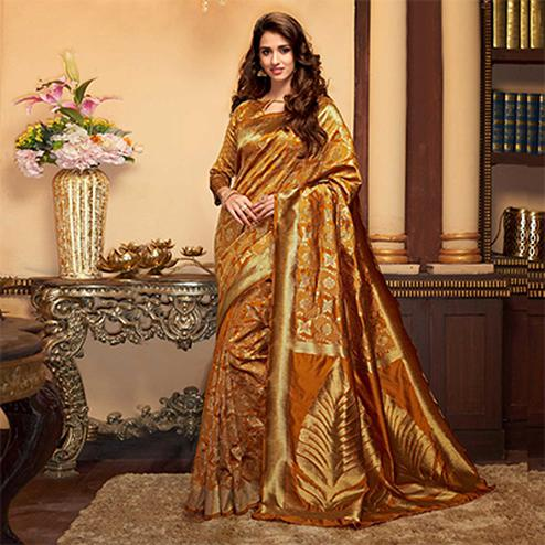 Desirable Golden Designer Cotton Silk Saree