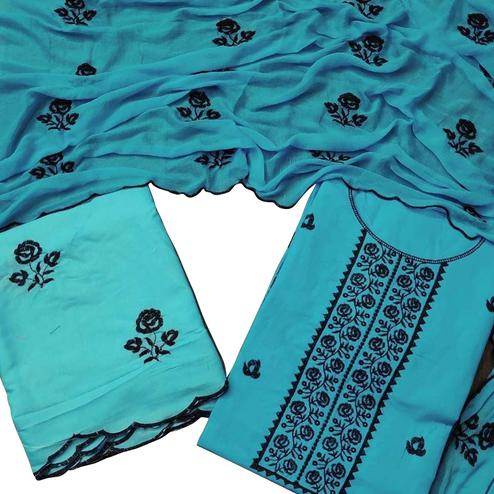 Excellent Blue Colored Partywear Floral Embroidered Cotton Dress Material