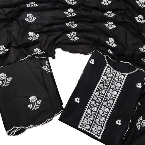 Marvellous Black Colored Partywear Floral Embroidered Cotton Dress Material