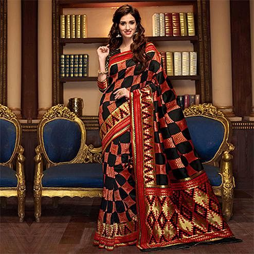 Graceful Black-Red Designer Cotton Silk Saree