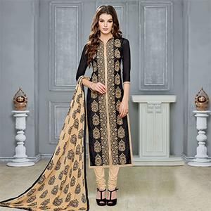 Black - Beige Chanderi Dress Material