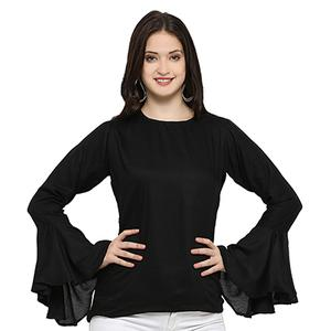 Lovely Black Casual Wear Rayon Top