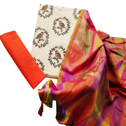 Delightful Beige-Orange Colored Party Wear Printed Cotton Dress Material