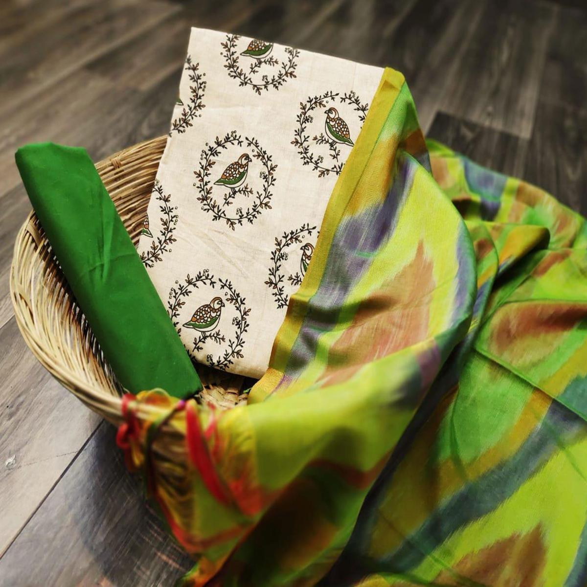 Engrossing Beige-Green Colored Party Wear Printed Cotton Dress Material