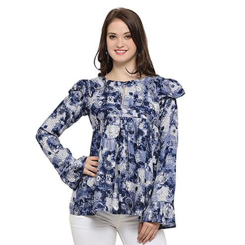 Cool Light Blue Digital Printed Casual Wear Rayon Top