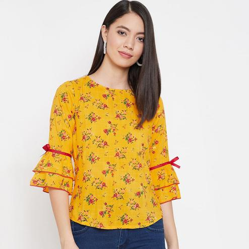 WineRed - Yellow Colored Casual Wear Floral Printed Rayon Top