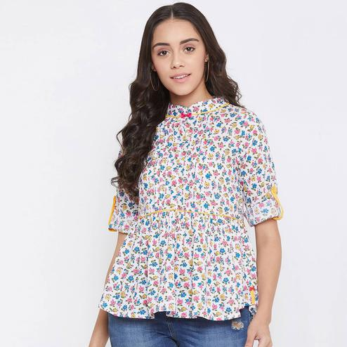 WineRed - White Colored Casual Wear Floral Printed Cotton Top