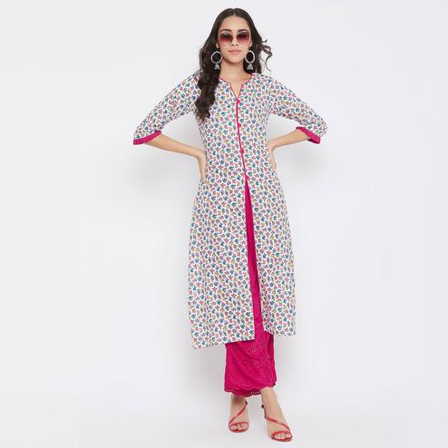 WineRed - White Colored Casual Wear Floral Printed Cotton Kurti