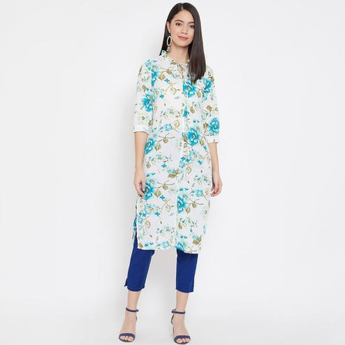 WineRed - White Blue Colored Casual Wear Floral Printed Pure Cotton Kurti